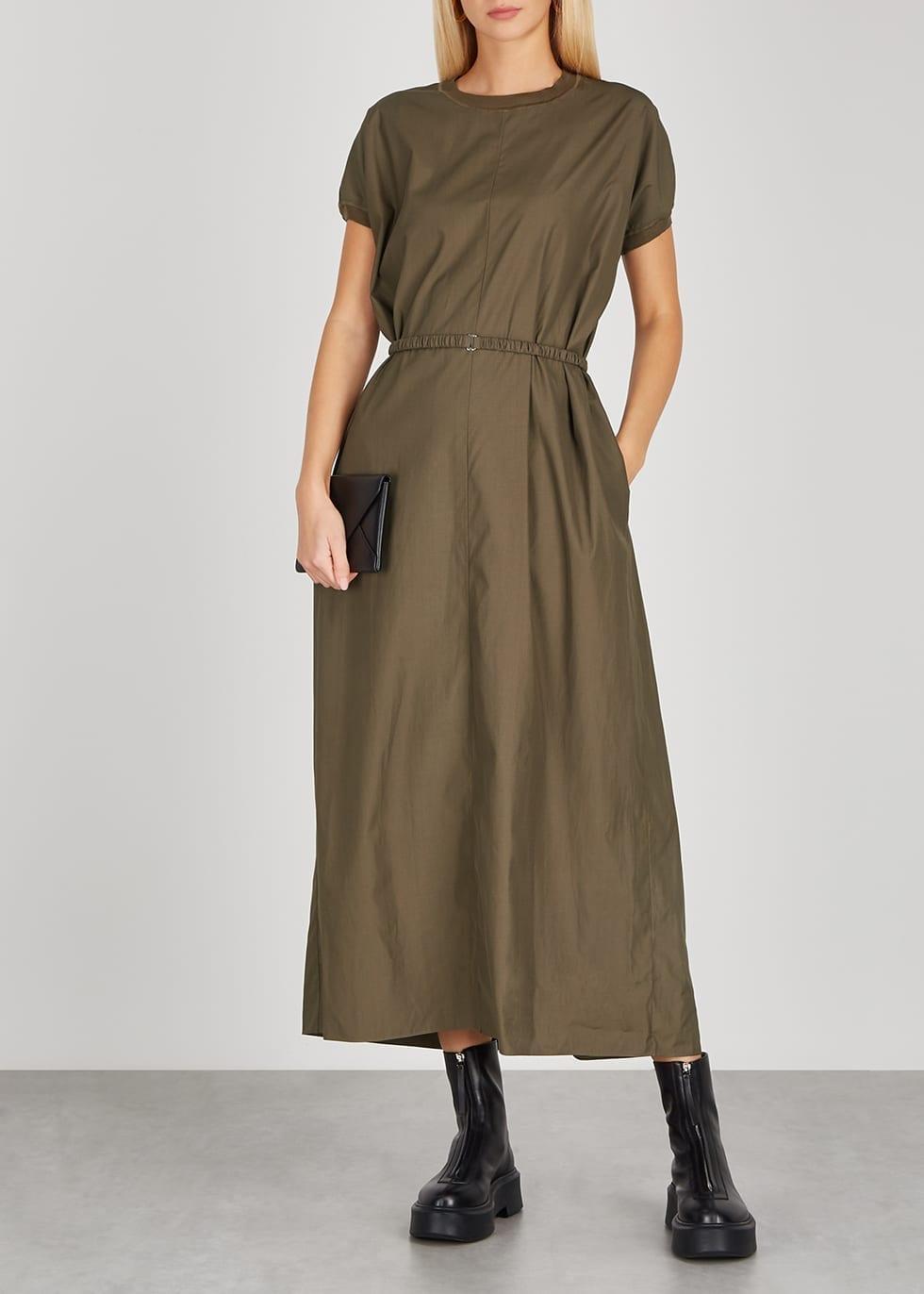 THE ROW Mafalda Army Green Belted Maxi Dress
