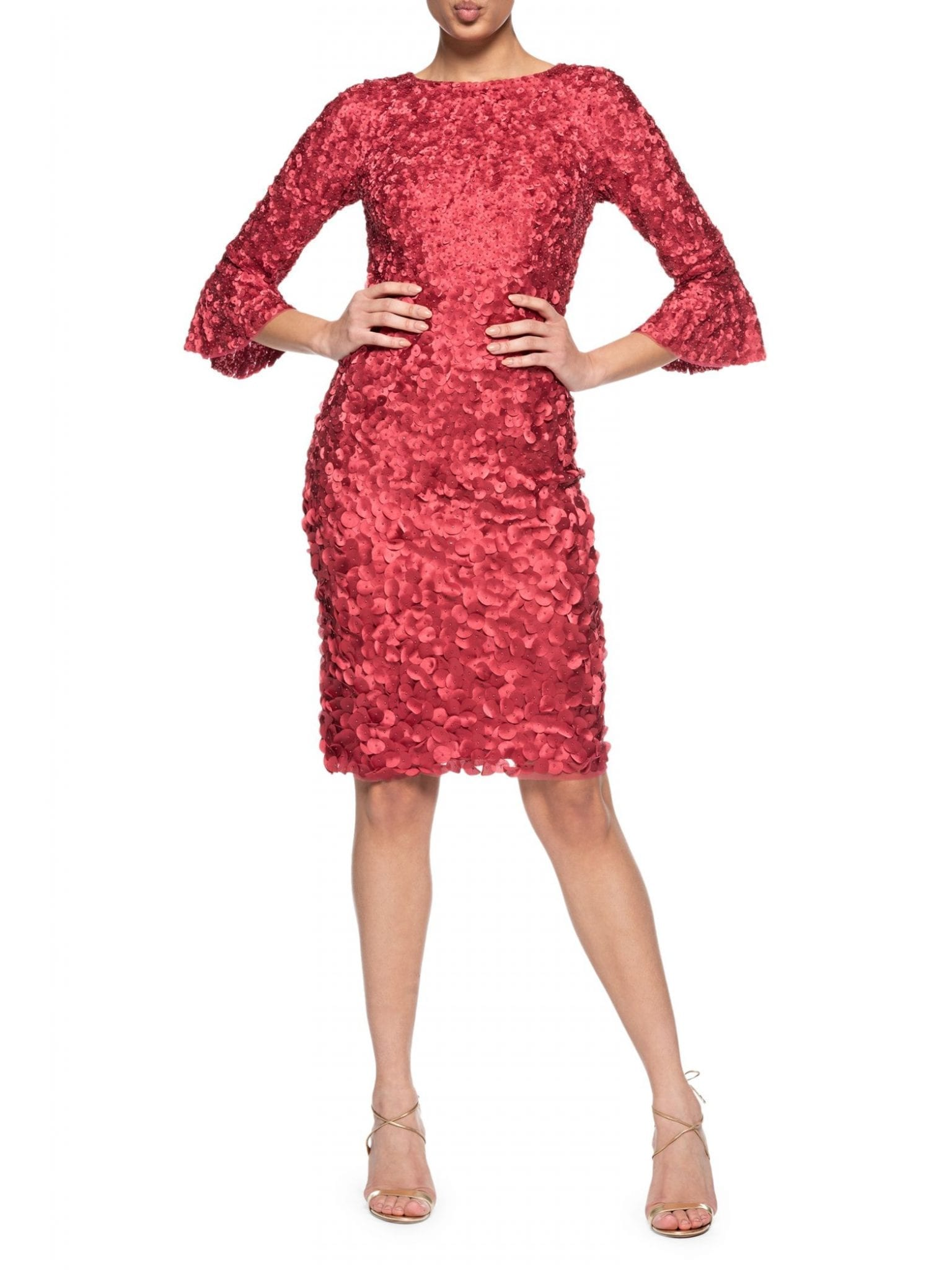 THEIA Boatneck Cocktail Hand-Embroidered Dress