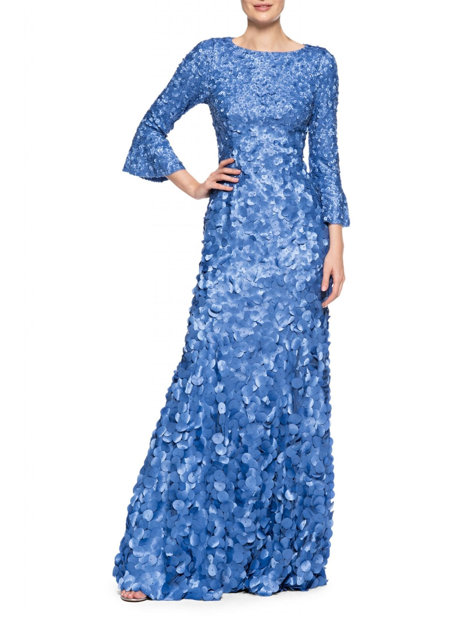 THEIA Boatneck Hand-Embroidered Laser Cut Gown