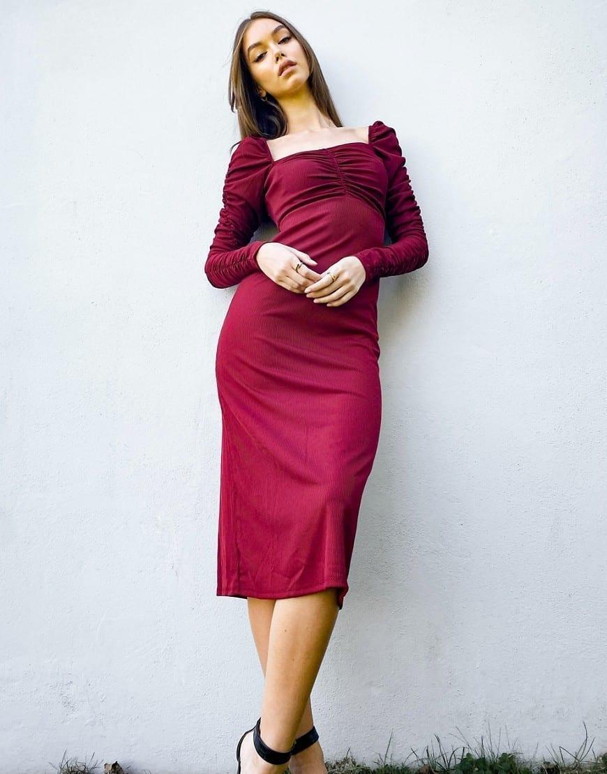 TOPSHOP Ruched Waist Long Sleeve Dress