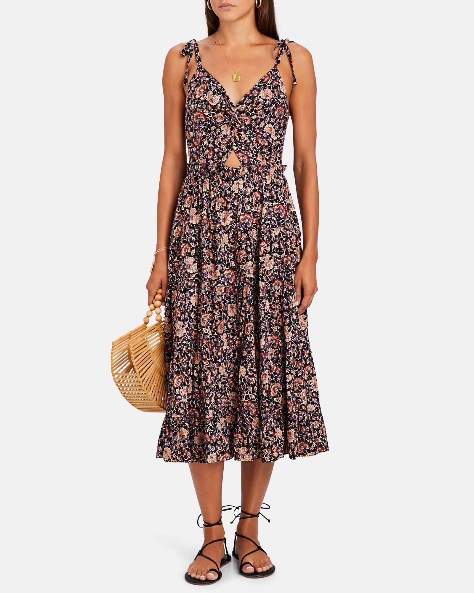 ULLA JOHNSON Kali Floral Cotton Midi Dress