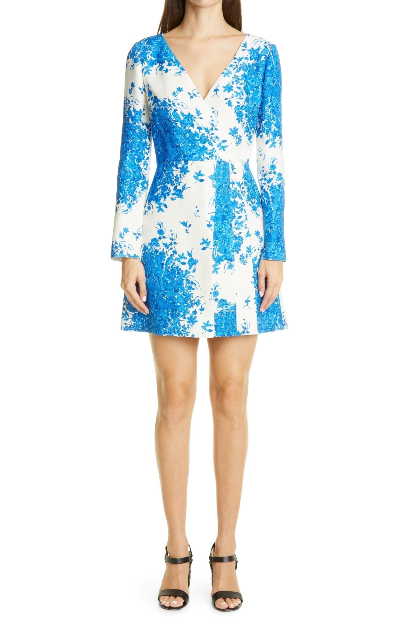 VALENTINO Delft Print Long Sleeve Wrap Dress
