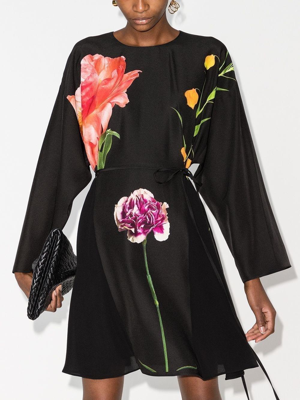 VALENTINO Flowersity Peony Tie-waist Short Dress