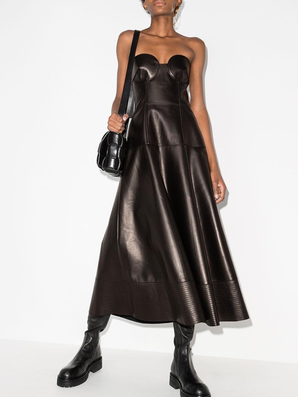 VALENTINO Strapless Leather Midi Dress
