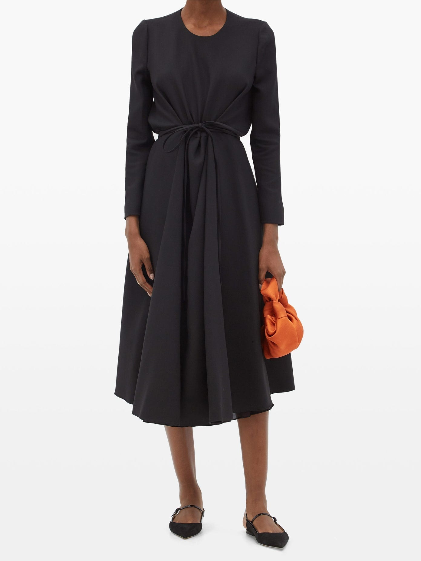 VALENTINO Tie-waist Wool-blend Crepe Dress