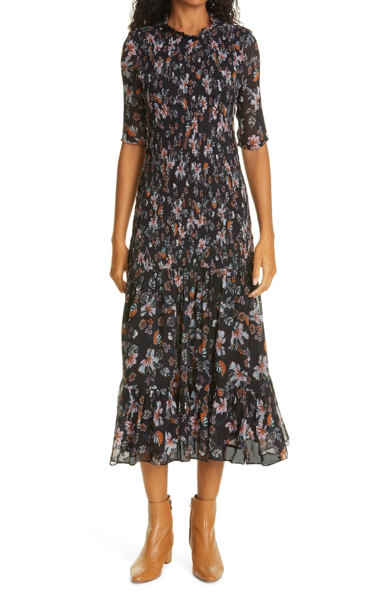 VERONICA BEARD Gabi Floral Print Dress