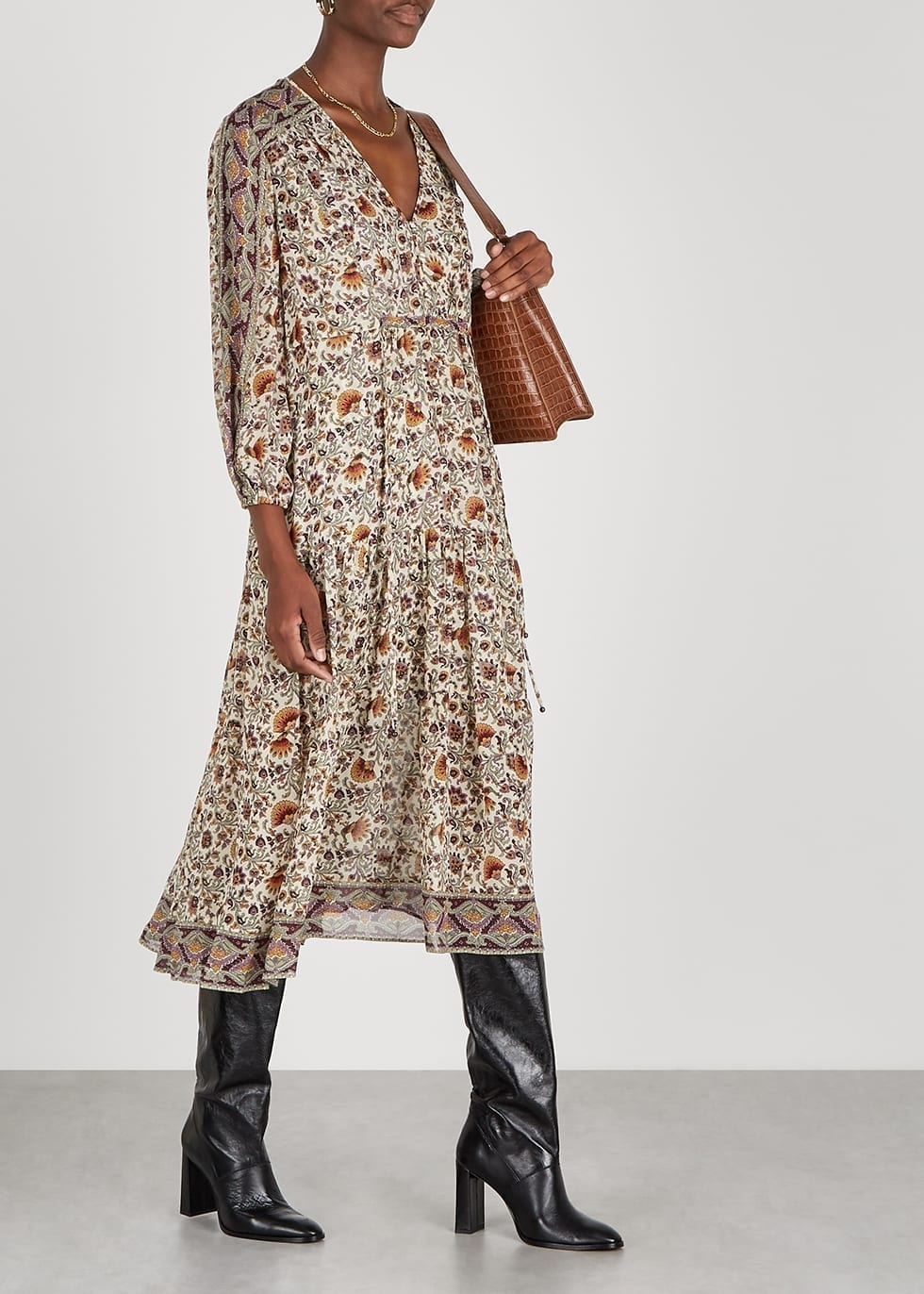 VERONICA BEARD Yoelle Printed Silk-chiffon Midi Dress