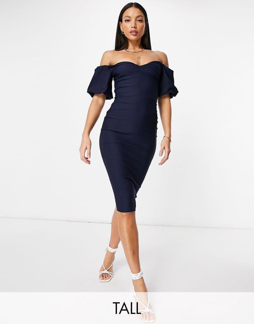 VESPER Tall Puff Sleeve Midi Pencil Dress