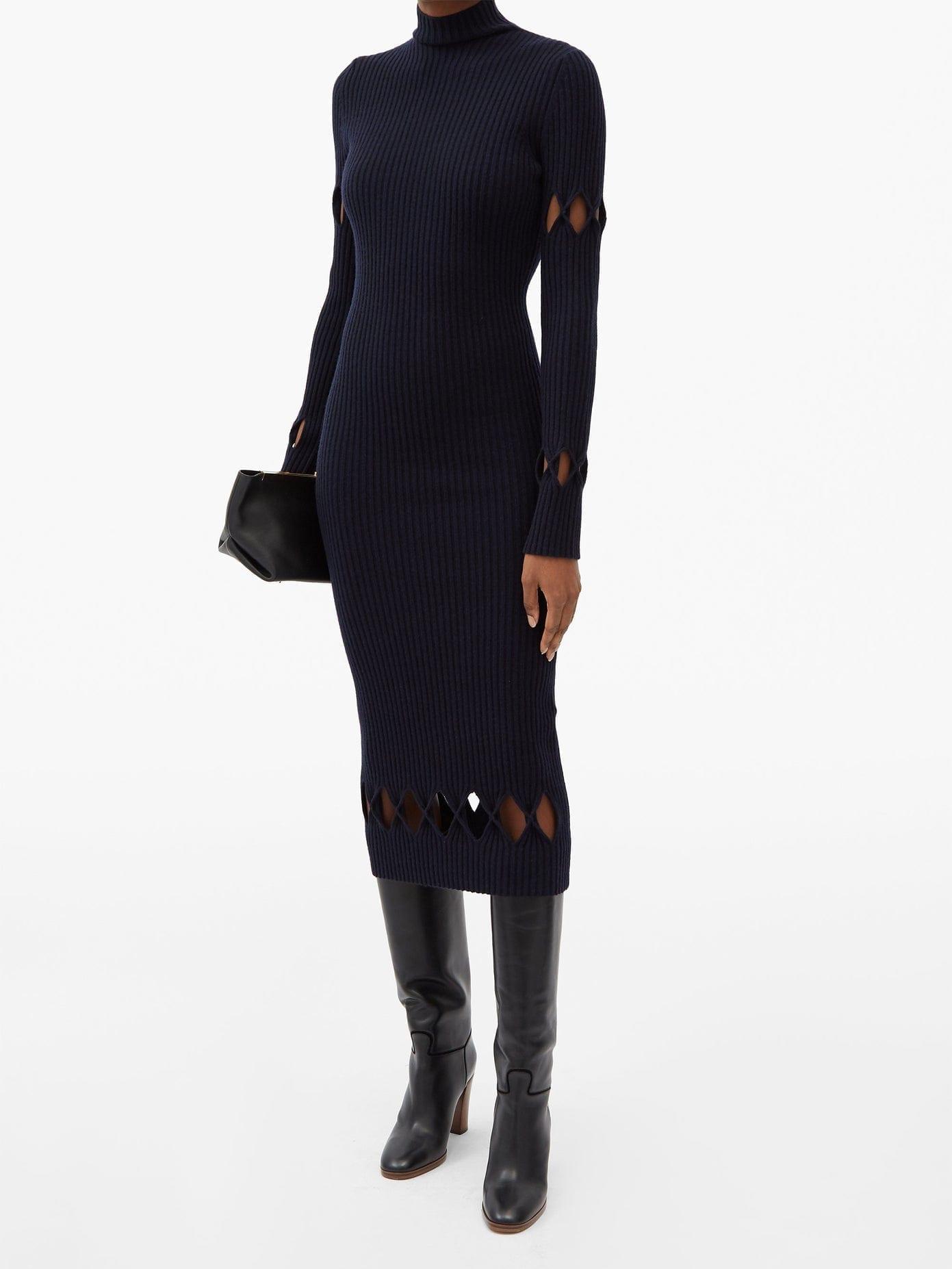 VICTORIA BECKHAM Diamond-cutout Roll-neck Wool-blend Sweater Dress