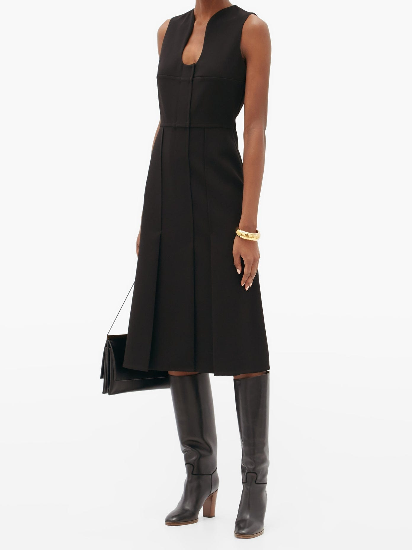 VICTORIA BECKHAM Keyhole-neck Crepe Midi Dress
