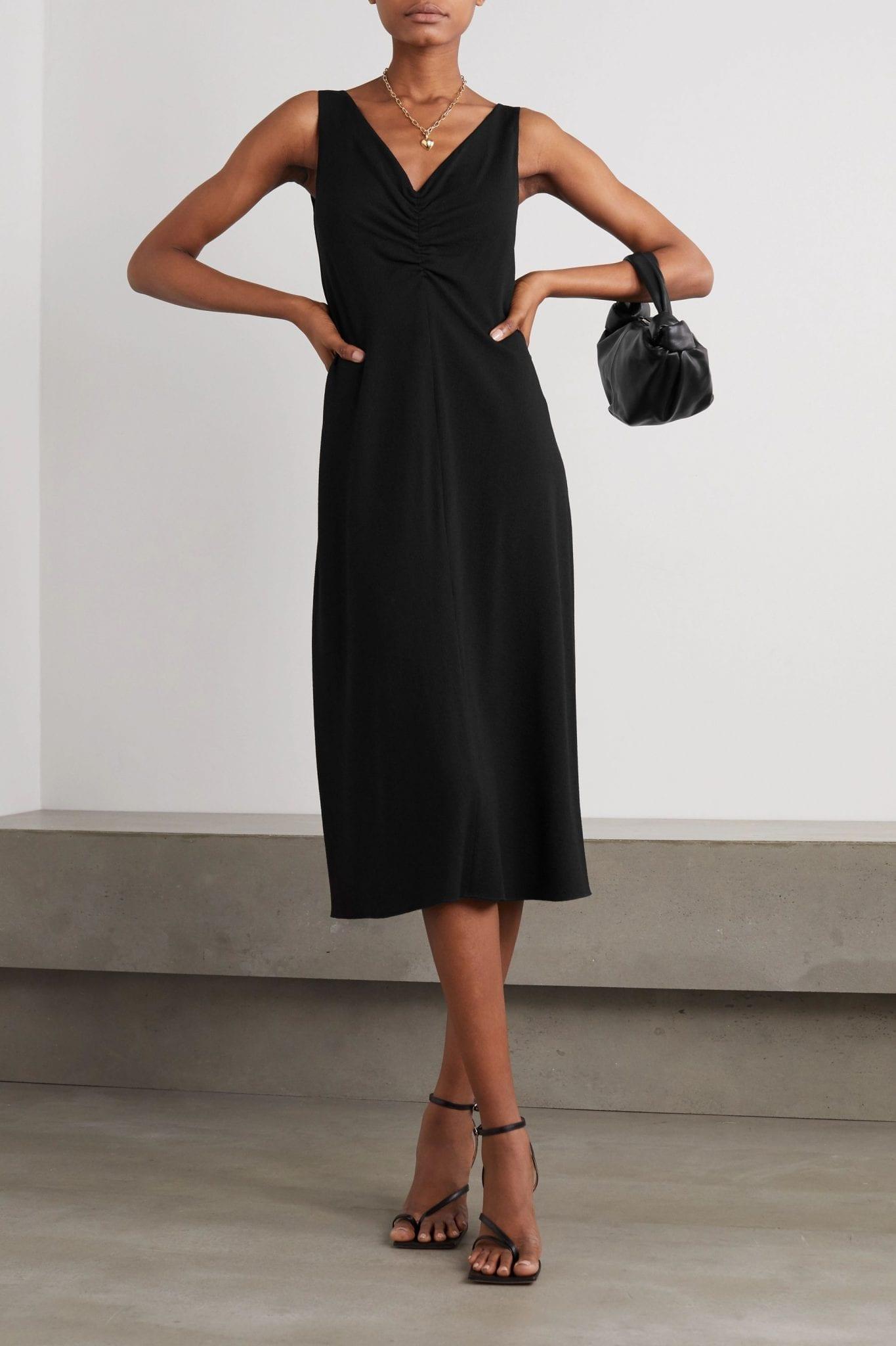 VINCE Ruched Stretch-crepe Midi Dress