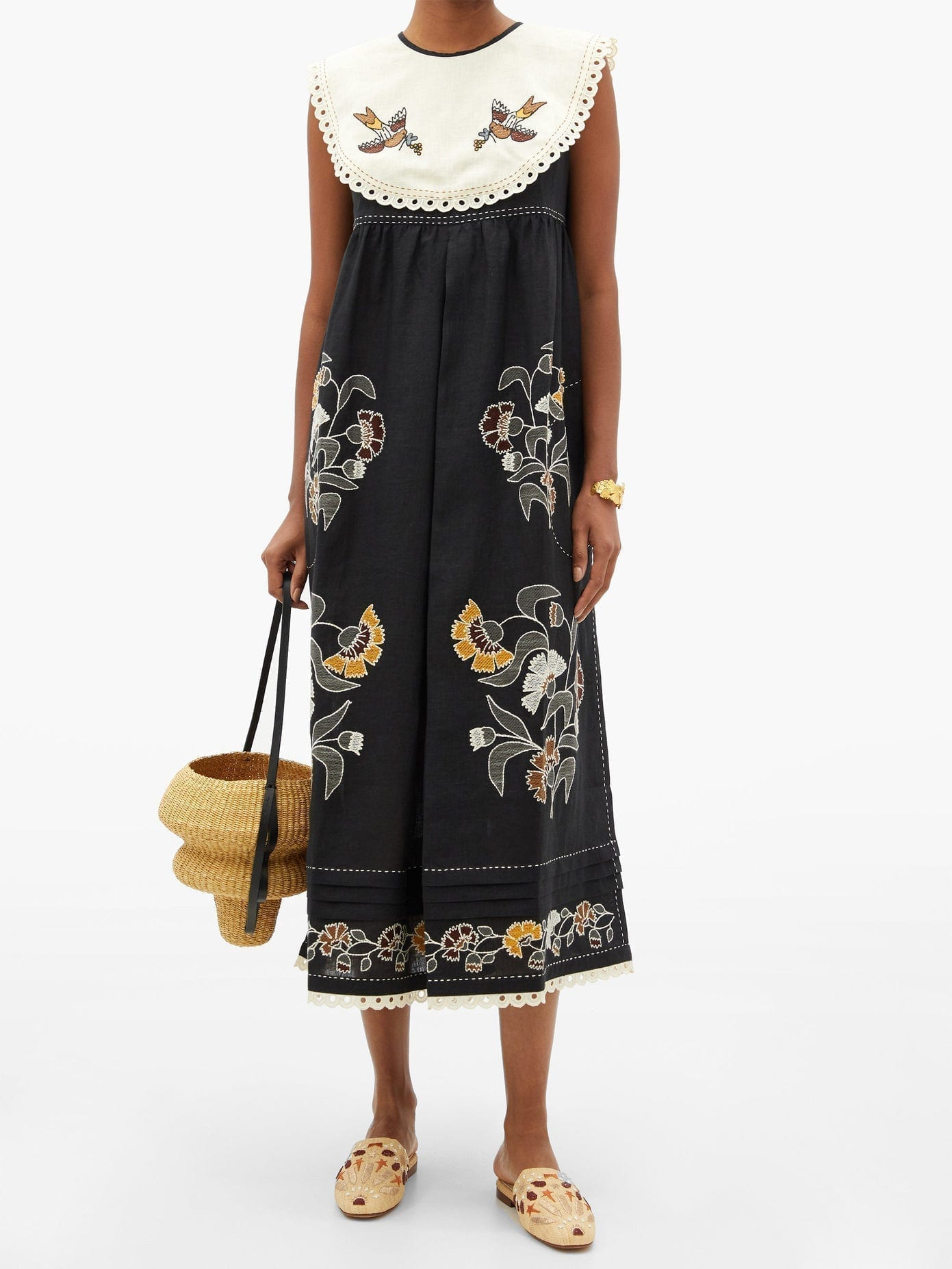 VITA KIN Heavenly Swallows Embroidered Linen Midi Dress