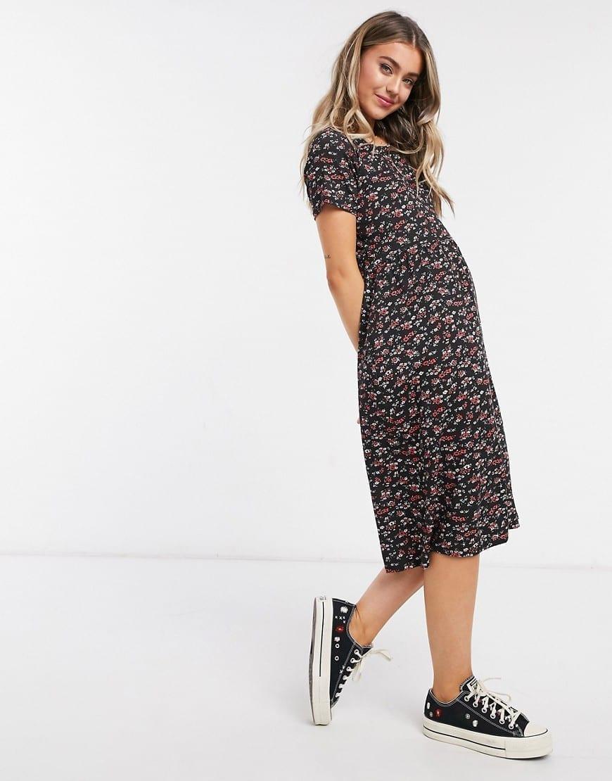 WEDNESDAY'S GIRL Midi Smock Dress