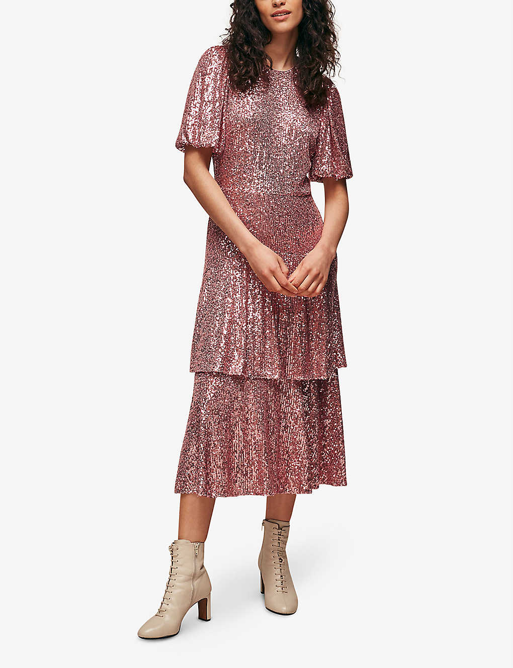 WHISTLES Arabelle Tiered Sequinned Midi Dress