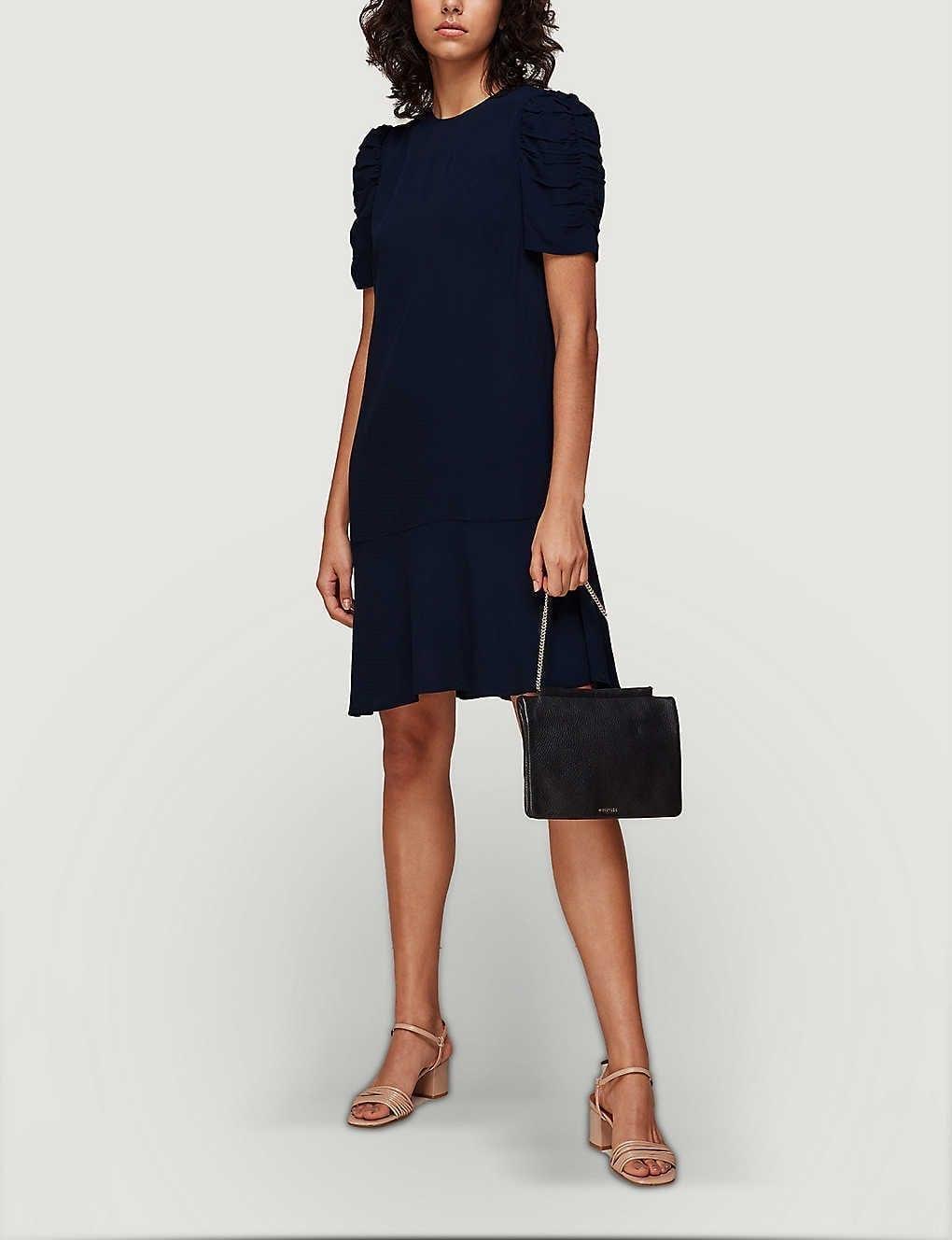 WHISTLES Georgina Ruched-sleeve Crepe Mini Dress
