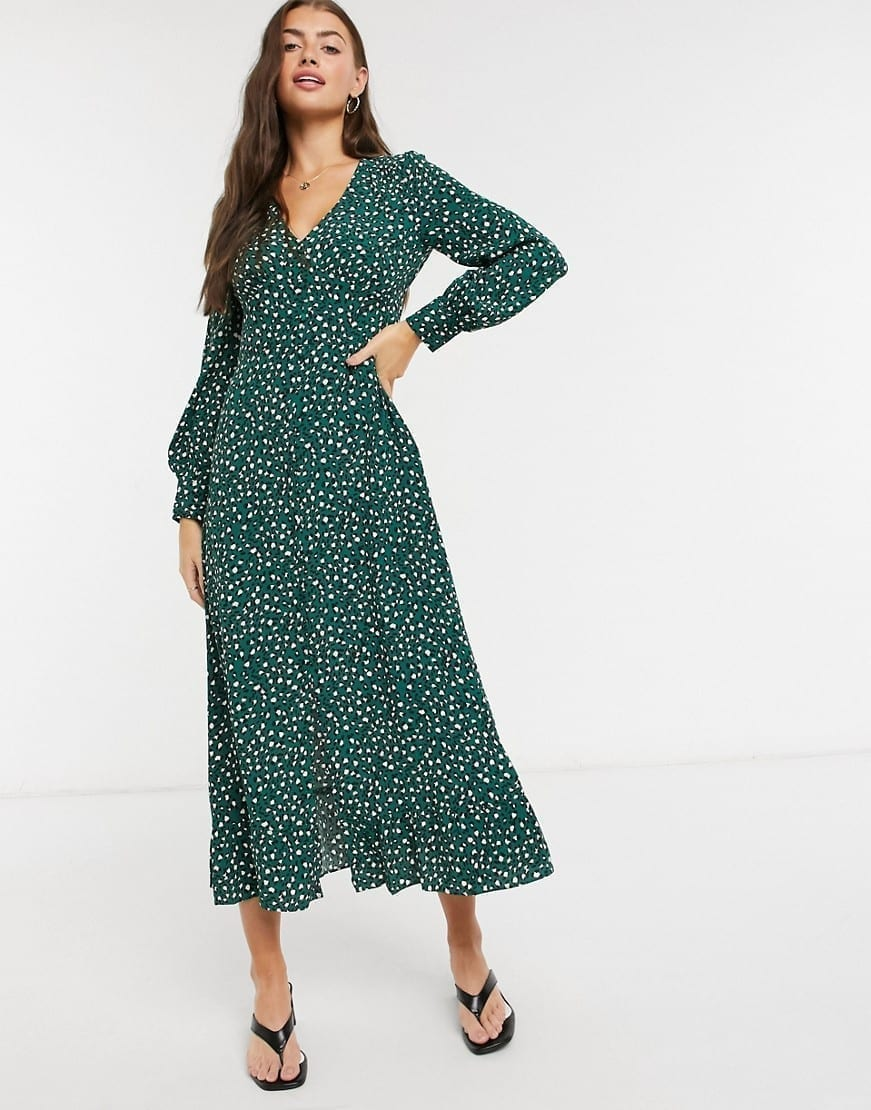 WHISTLES Leopard Printed Midi Dress