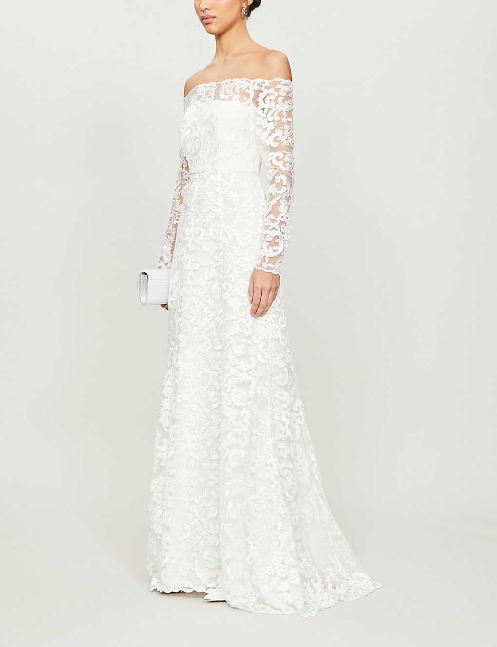 WHISTLES Melba Bardot Lace Wedding Gown