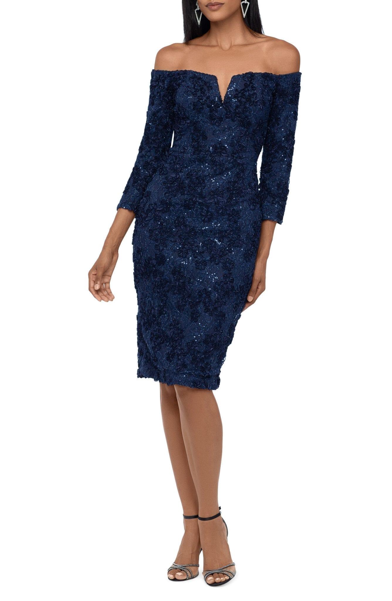 XSCAPE Sequin Lace Off the Shoulder Cocktail Dress