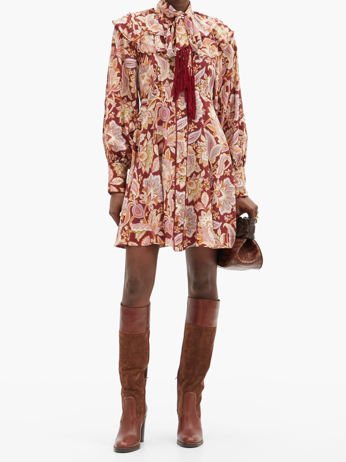 ZIMMERMANN Charm Fringed Paisley-print Silk Mini Dress