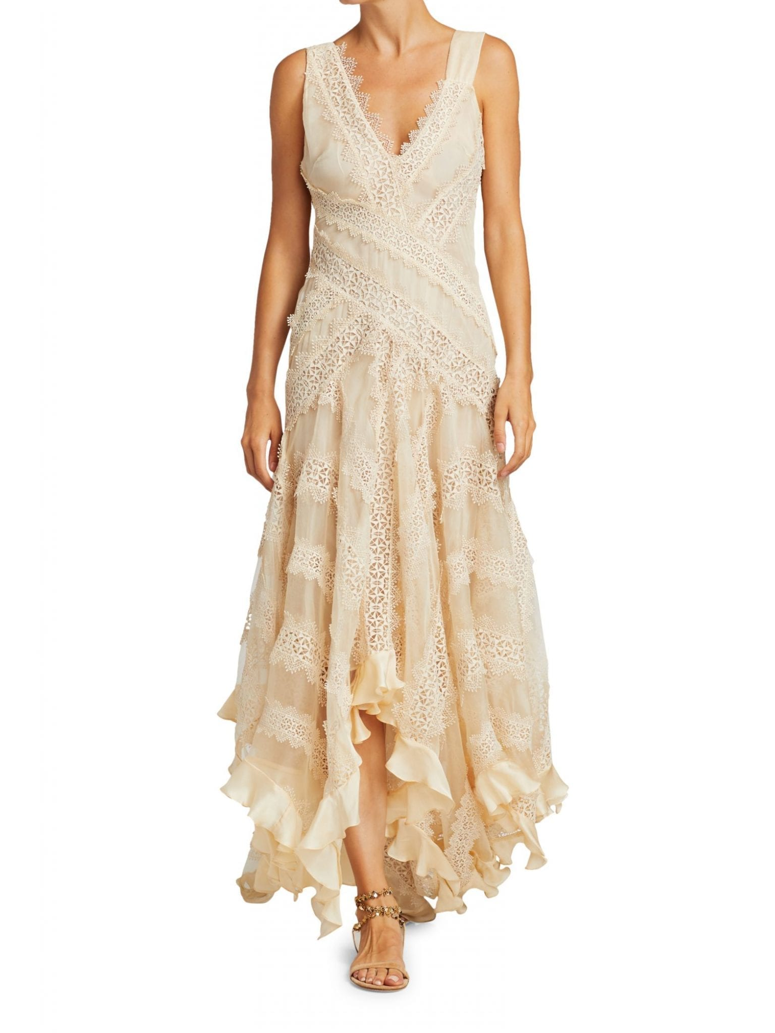 ZIMMERMANN Charm Star Lace Handkerchief Hem Slip Dress