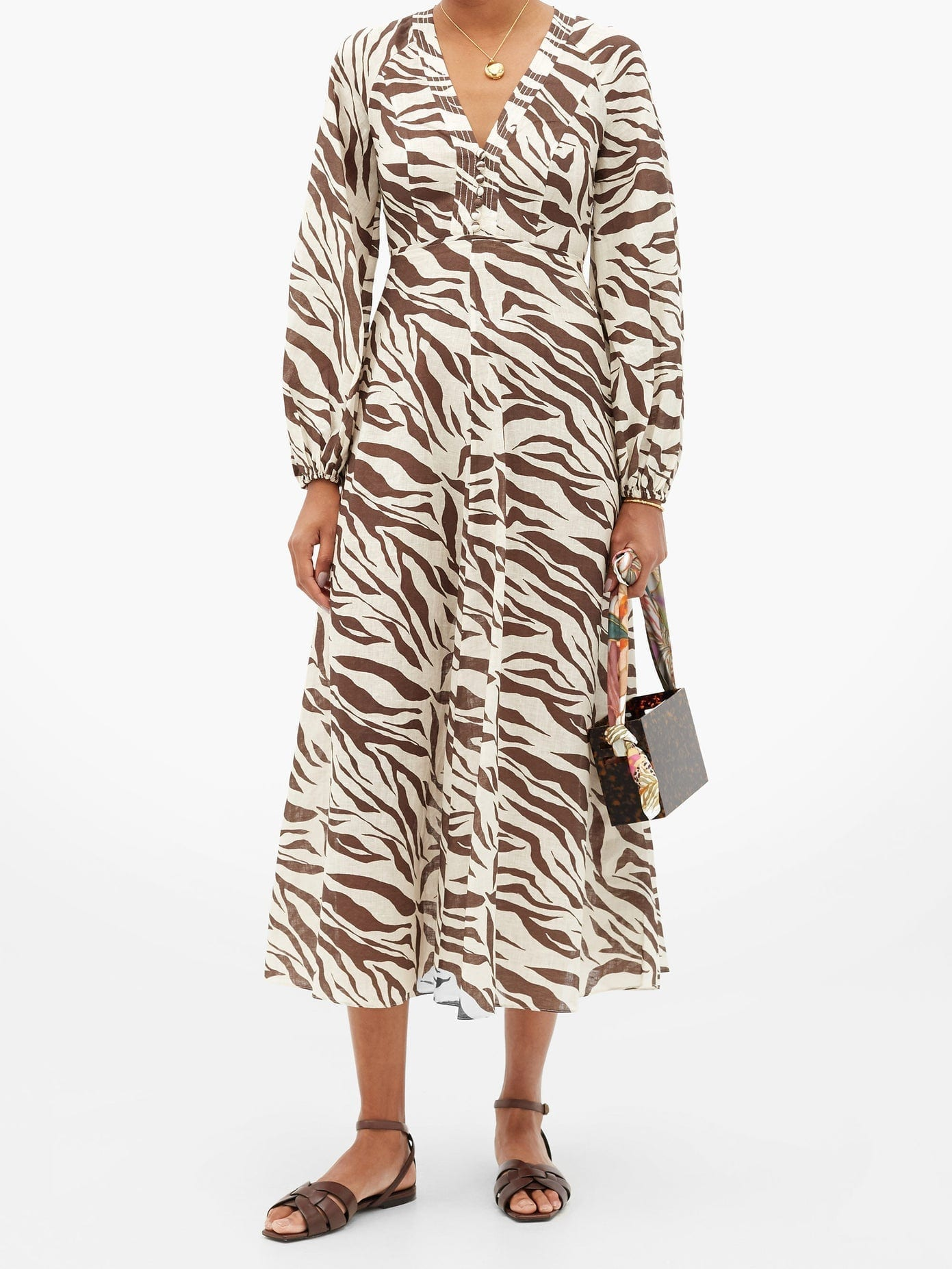 ZIMMERMANN Fiesta Zebra-print Linen Midi Dress