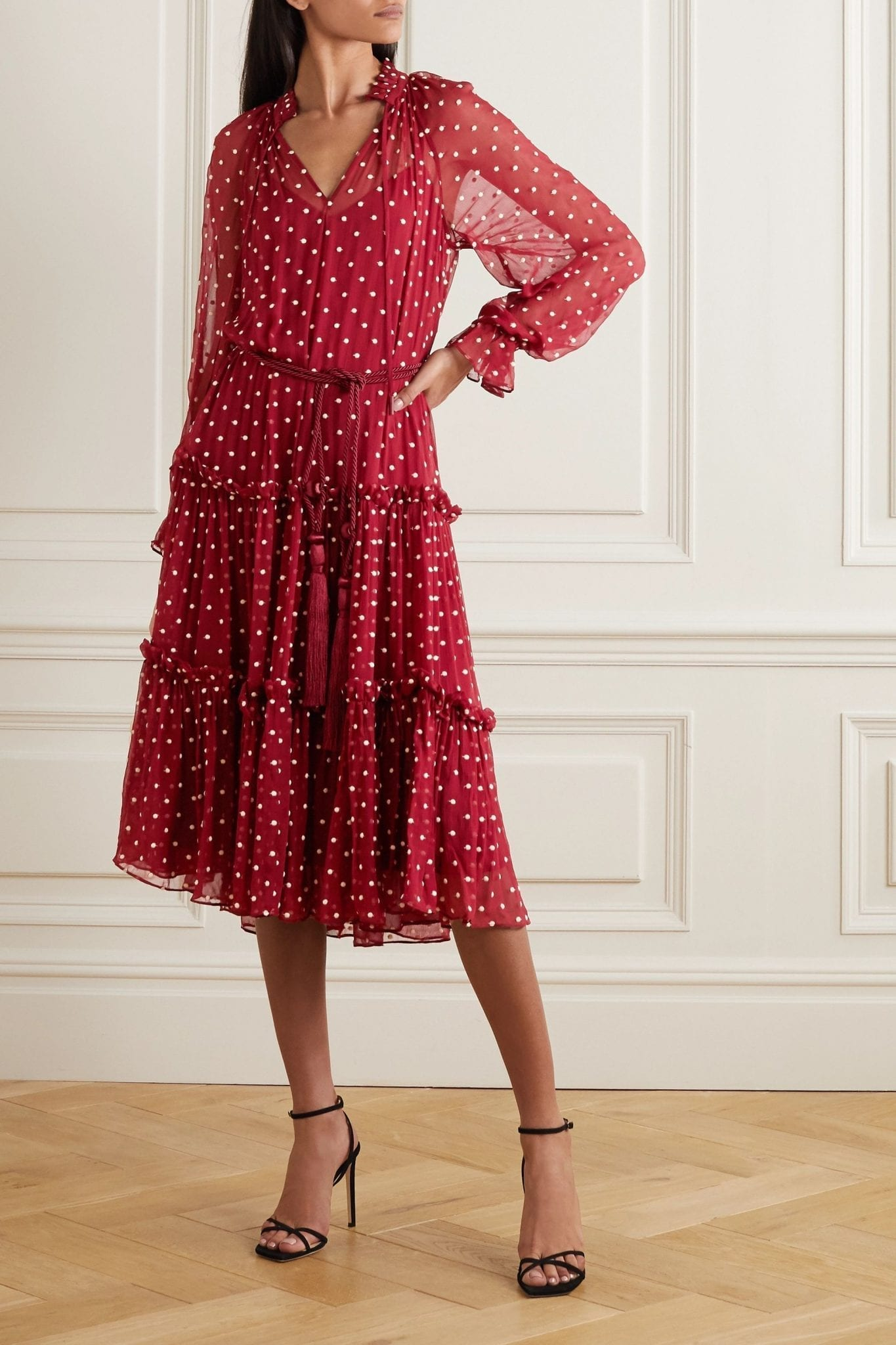 ZIMMERMANN Ladybeetle Belted Ruffled Polka-dot Silk-chiffon Midi Dress