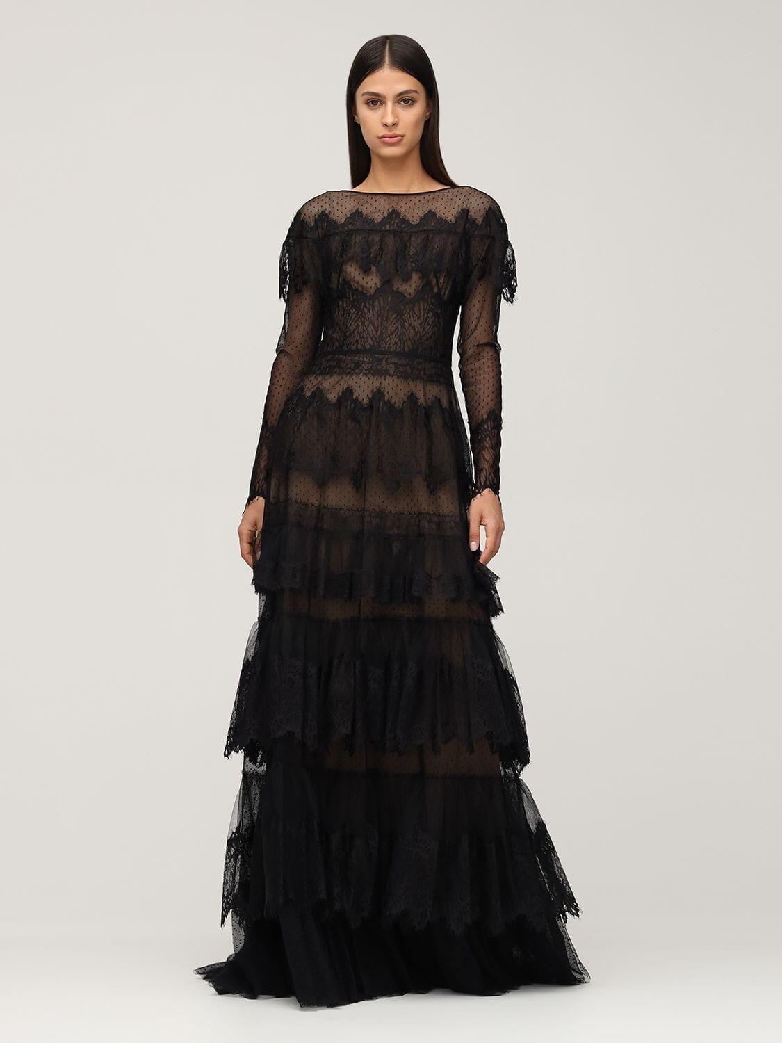 ZUHAIR MURAD Tiered Sheer Lace Long Dress