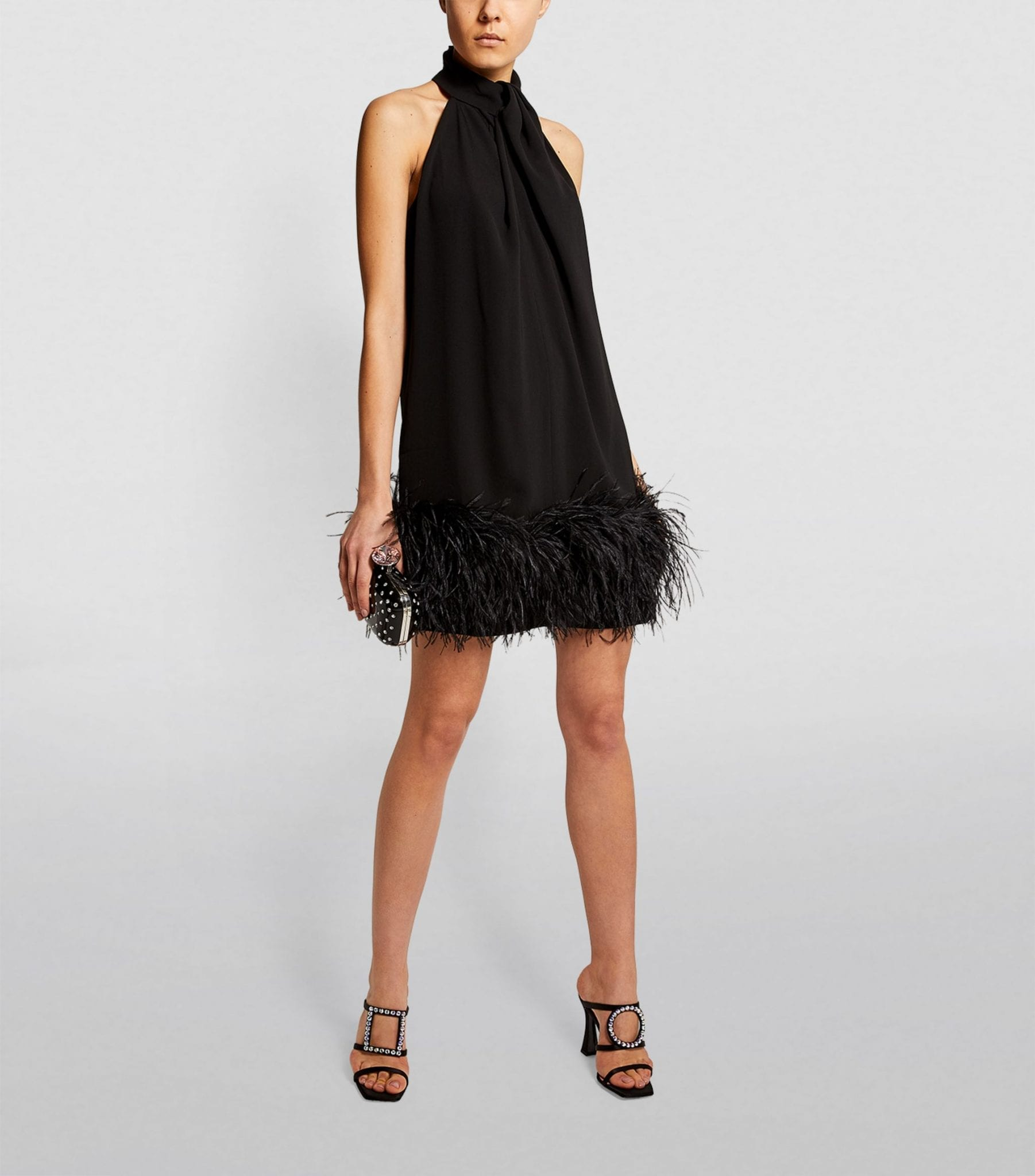 16ARLINGTON Cynthia Feather-Trim Mini Dress