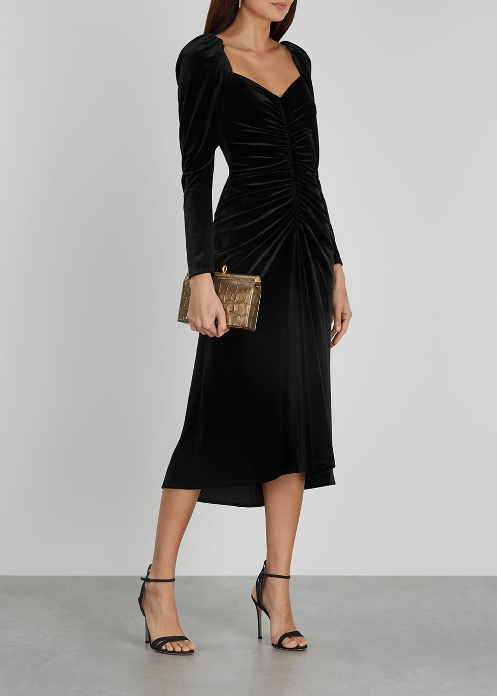 A.L.C. Chamberlain Black Stretch-velvet Midi Dress