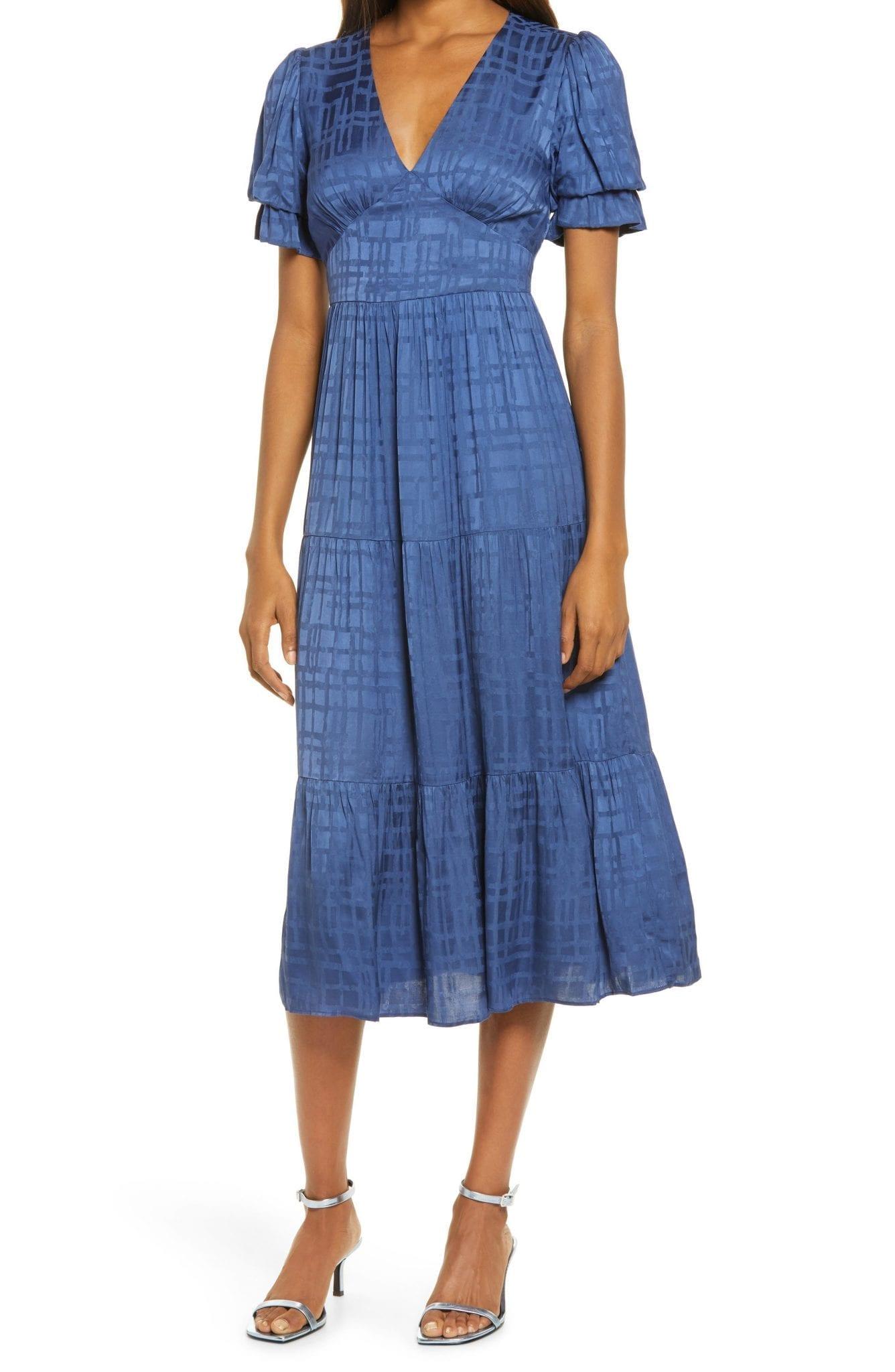 ADELYN RAE Marvella Jacquard Midi Dress