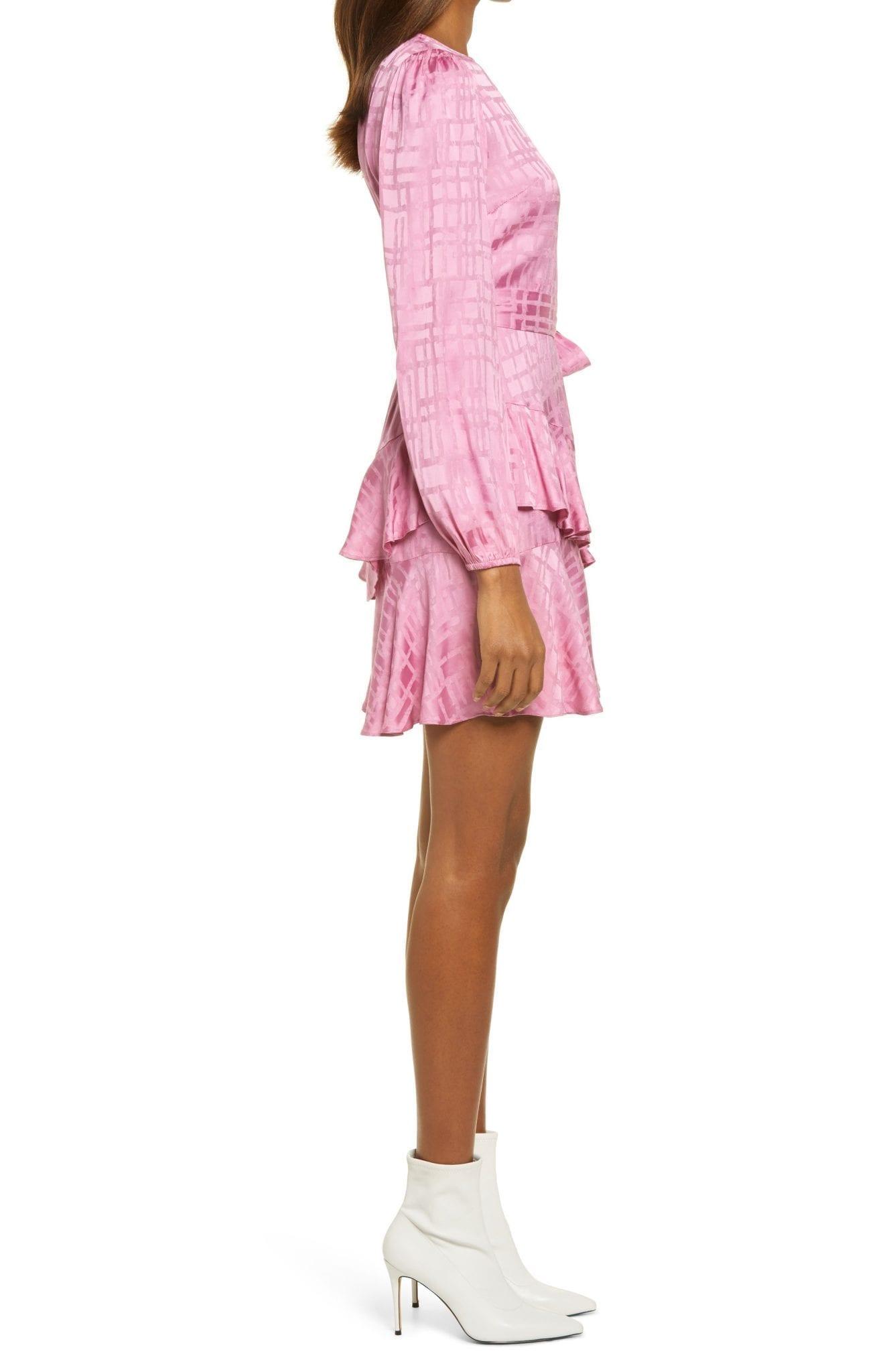 ADELYN RAE Marvella Tie Waist Long Sleeve Tiered Dress