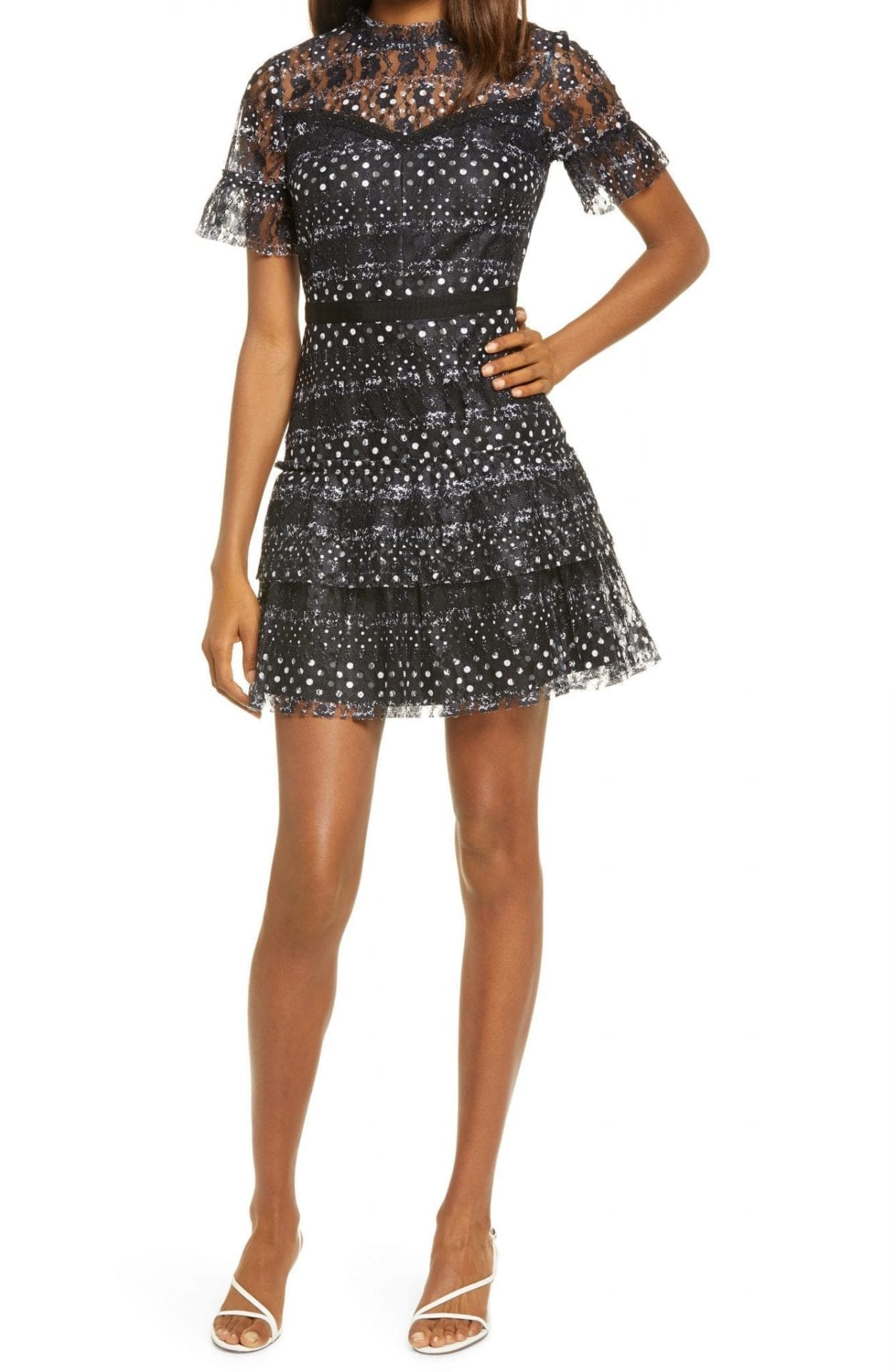 ADELYN RAE Suzette Lace Ruffle Cocktail Dress