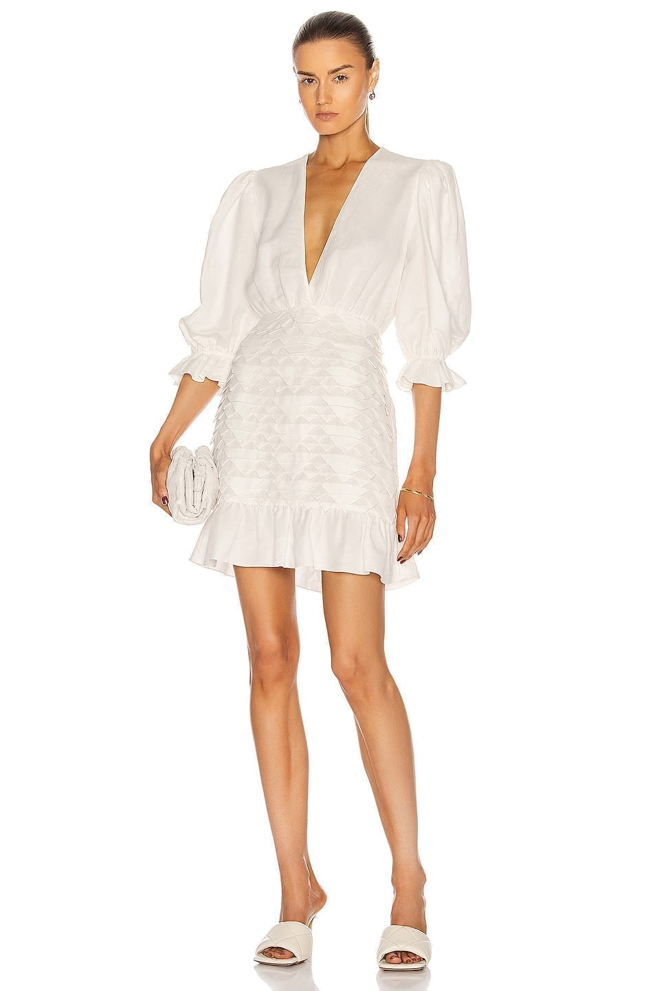 ADRIANA DEGREAS Linen Puff-Sleeves Short Dress