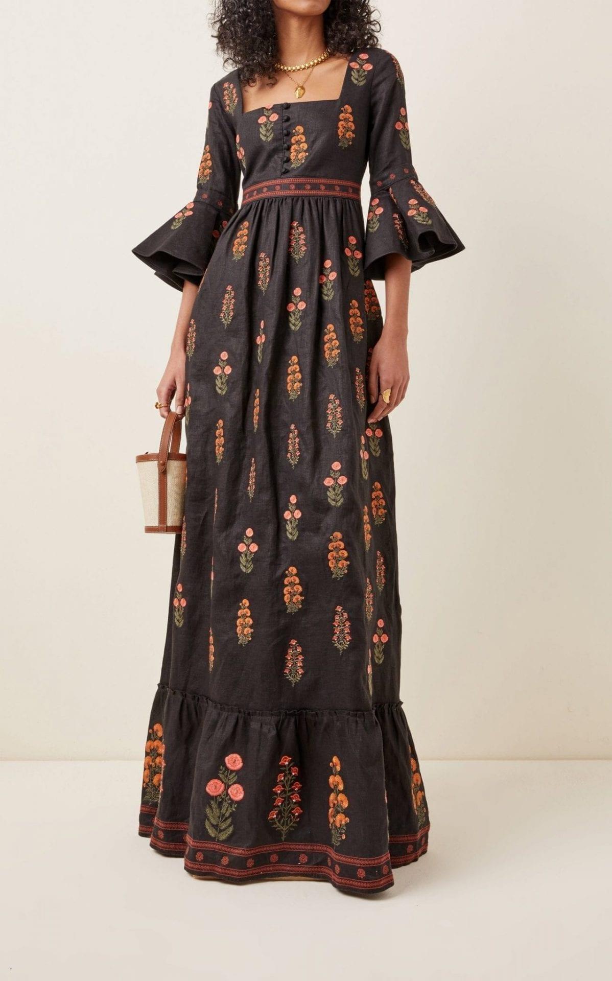 AGUA BY AGUA BENDITA Ambar Dahlia-Embroidered Linen Maxi Dress