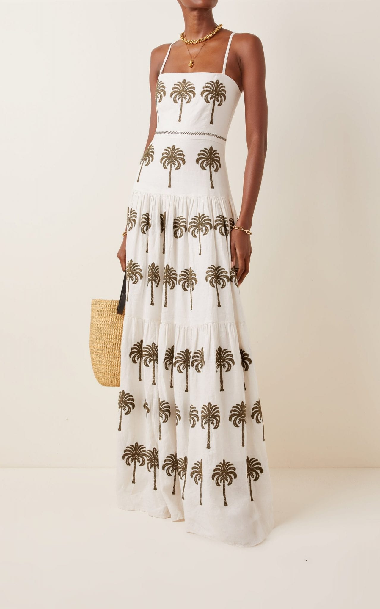 AGUA BY AGUA BENDITA Lima Cocora-Hand Embroidered Linen Maxi Dress
