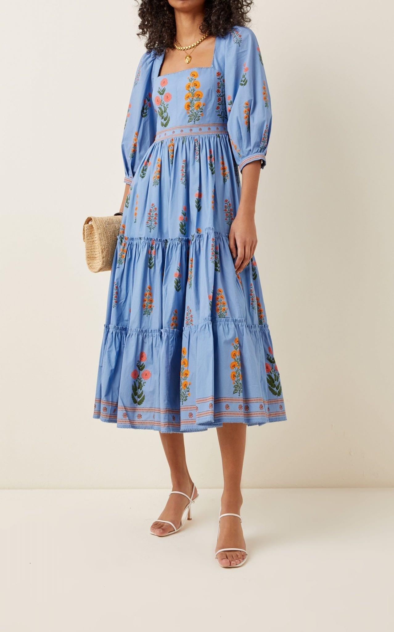 AGUA BY AGUA BENDITA Miel Dahlia-Embroidered Cotton-Poplin Midi Dress