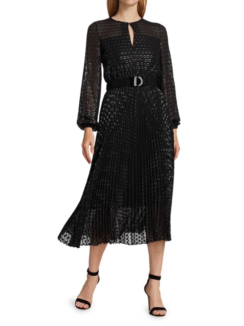 AKRIS PUNTO Devore Pleated Metallic Dot Dress