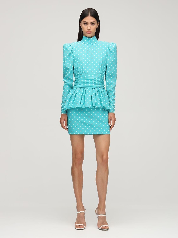 ALESSANDRA RICH Polka Dots Silk Mini Dress