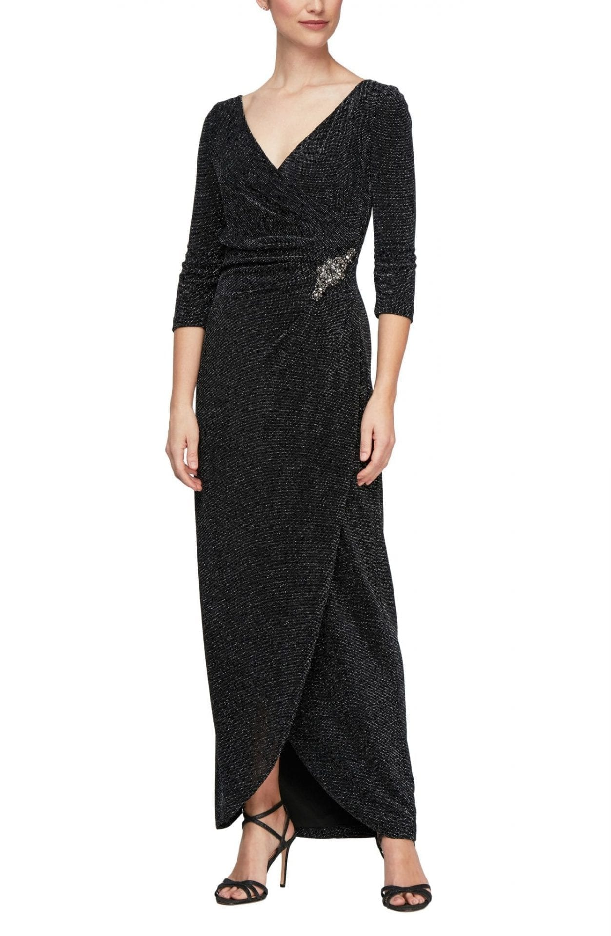 ALEX EVENINGS Surplice Metallic Knit Dress