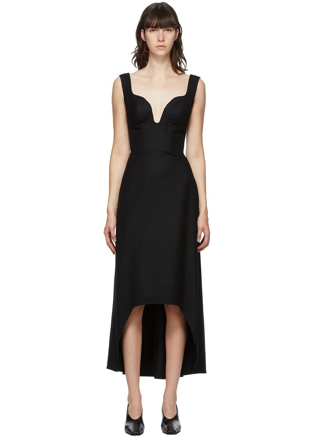 ALEXANDER MCQUEEN Black Bust Dip Dress