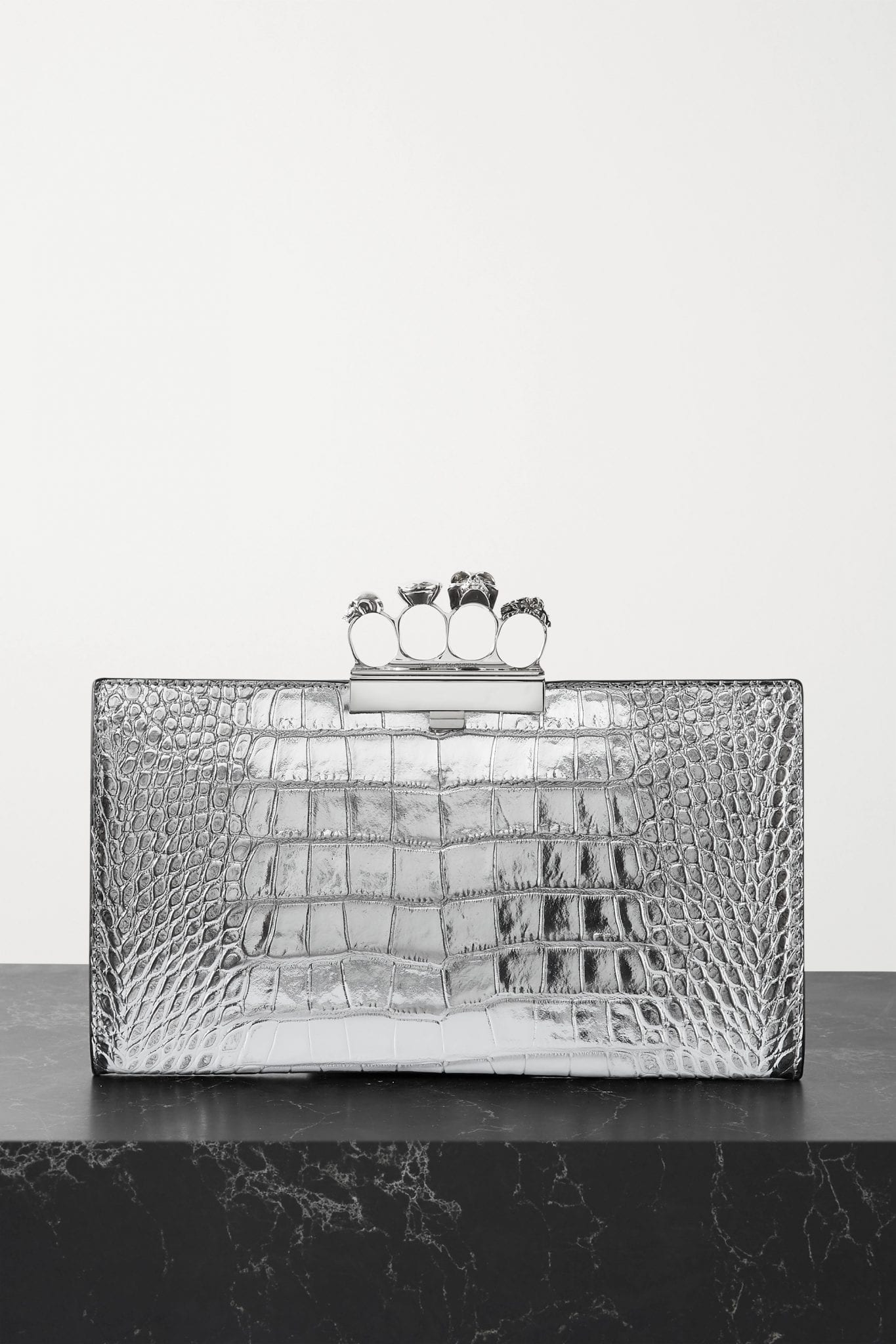 ALEXANDER MCQUEEN Four Ring Embellished Croc-effect Leather Clutch Bag