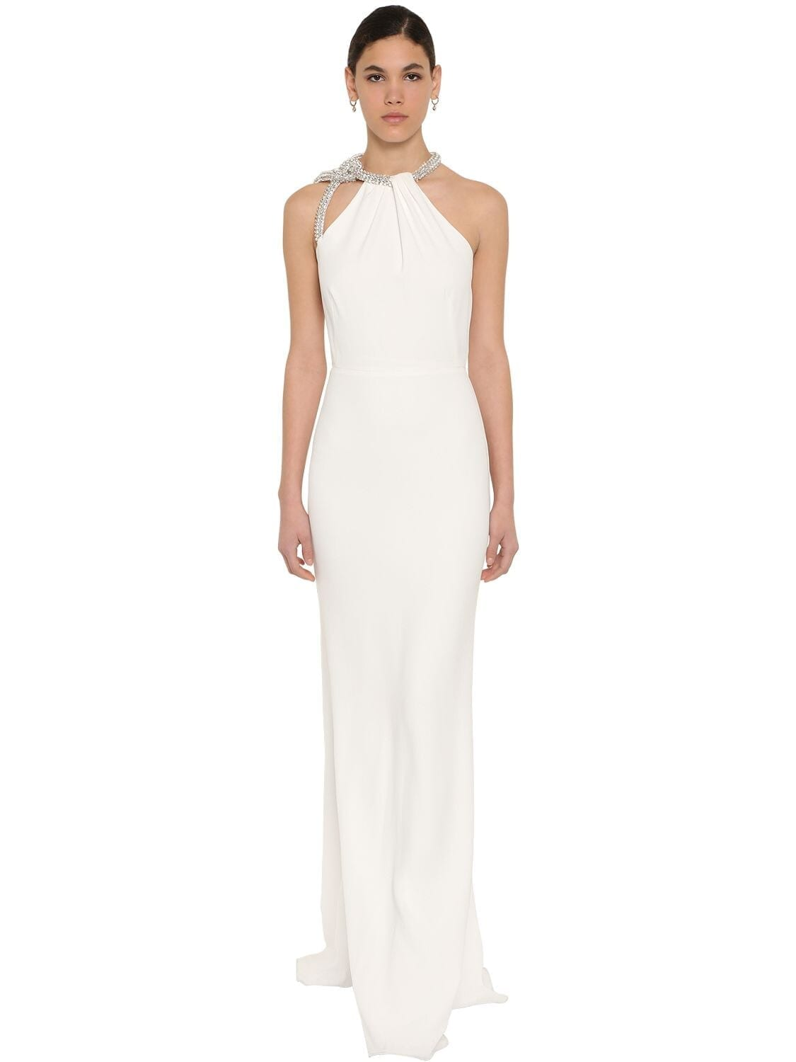 ALEXANDER MCQUEEN Long Embellished Leaf Crepe Dress