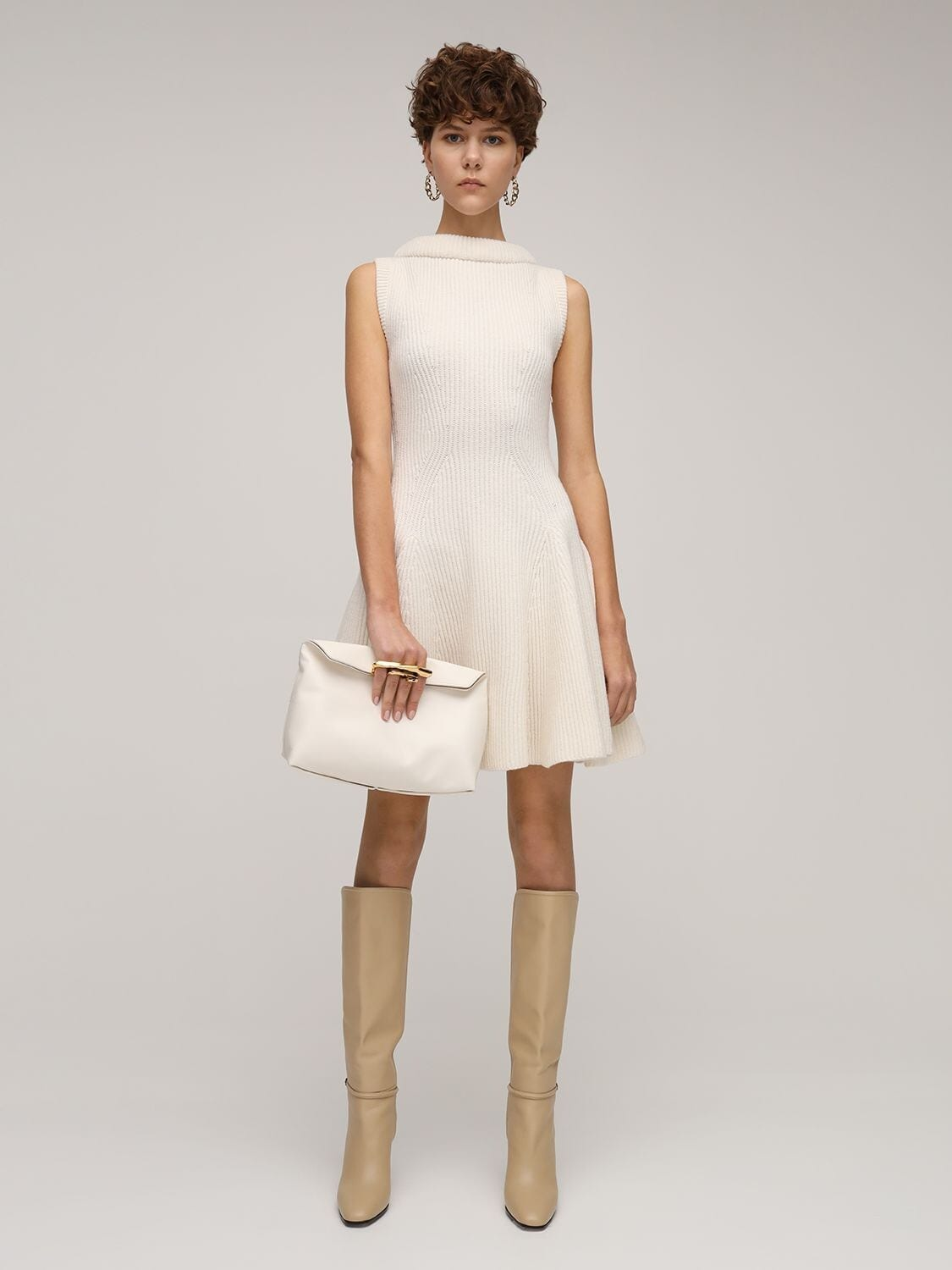 ALEXANDER MCQUEEN Pleated Wool Knit Mini Dress