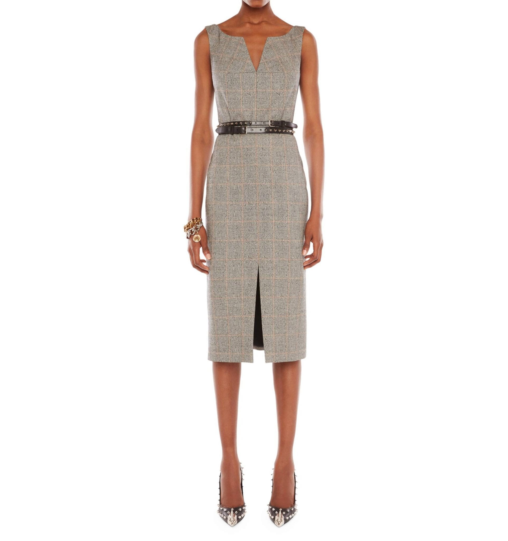 ALEXANDER MCQUEEN Prince Of Wales Check Wool-Blend Pencil Dress