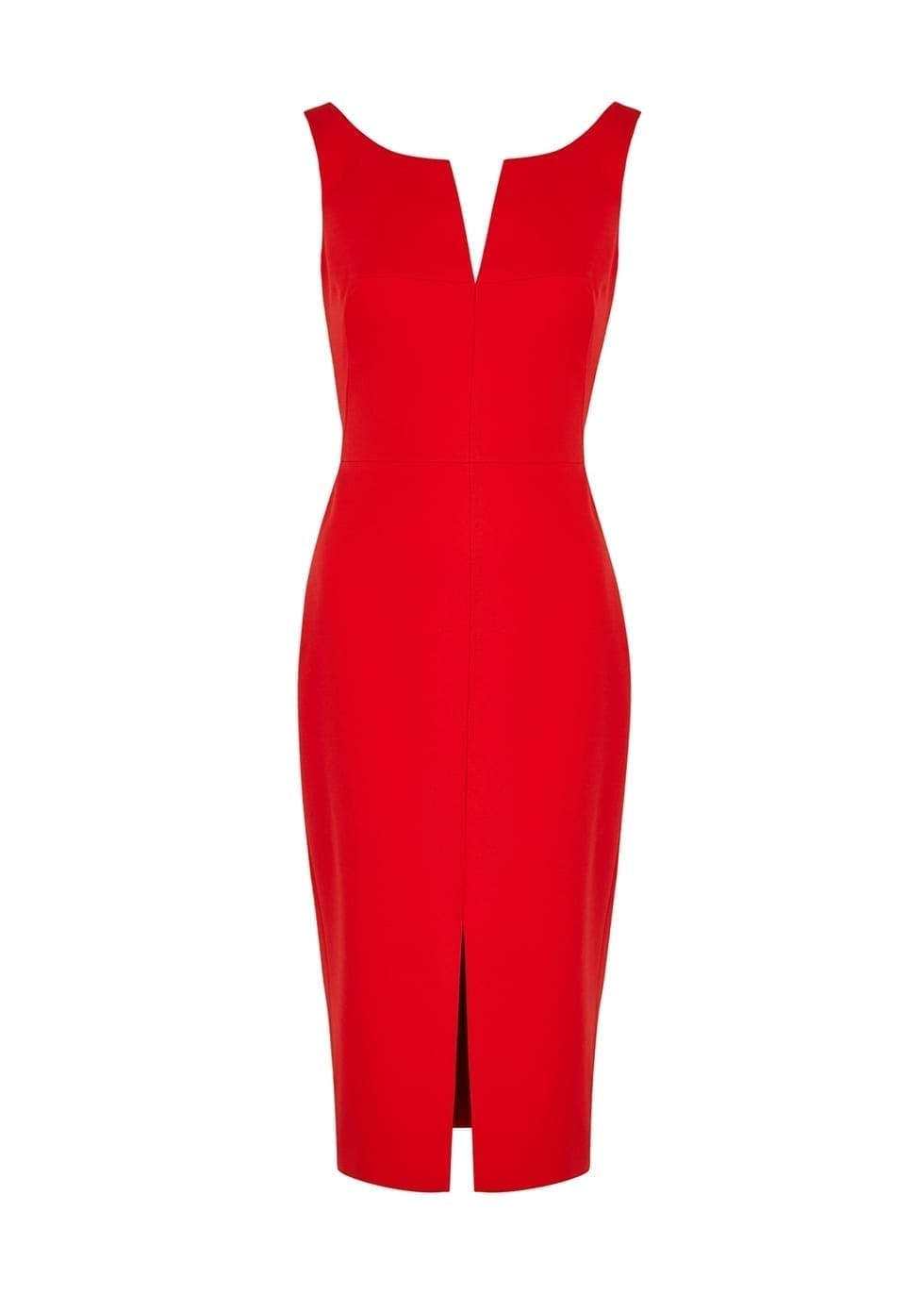 ALEXANDER MCQUEEN Red Wool-blend Midi Dress