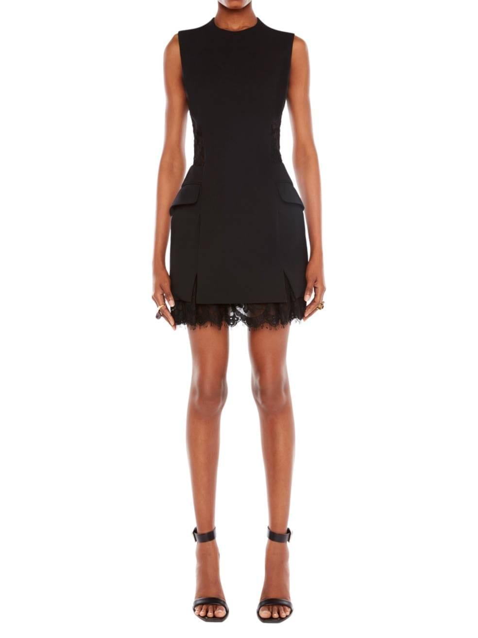ALEXANDER MCQUEEN Slit Lace Crepe Mini Dress