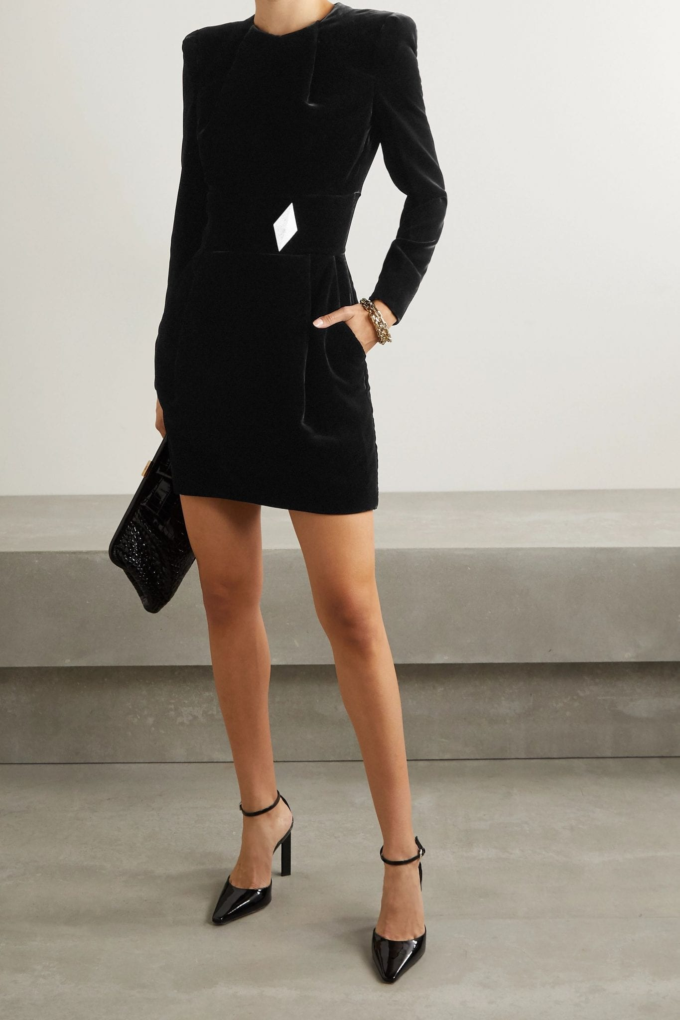 ALEXANDRE VAUTHIER Crystal-embellished Velvet Mini Dress