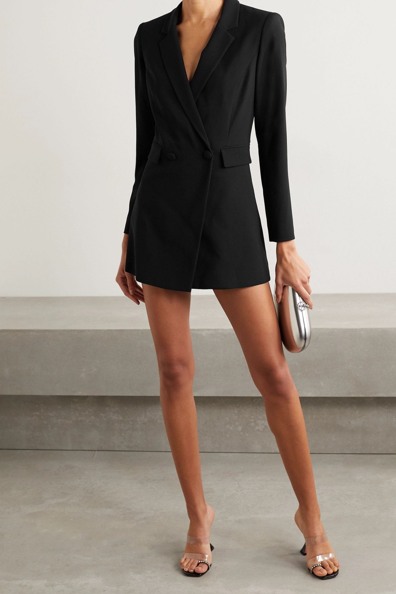 ALICE + OLIVIA Kyrie Double-breasted Crepe Playsuit Dress