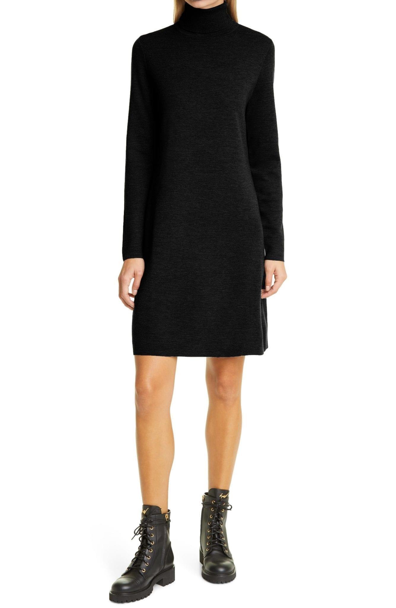 ALLUDE Turtleneck Wool Sweater Dress