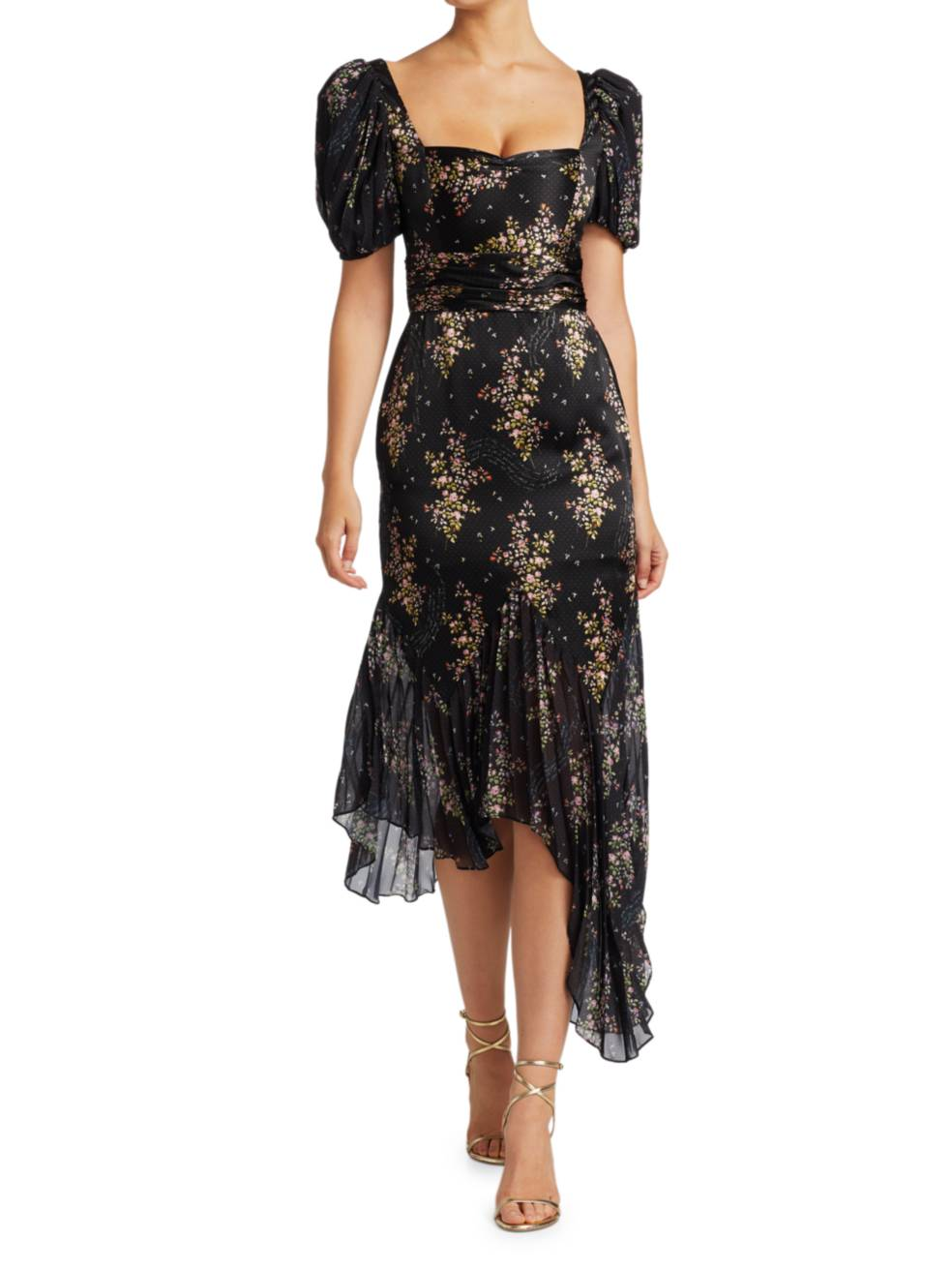 AMUR Destiny Puff-Sleeve Floral Midi Dress